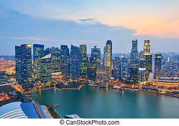 Skyline of Singapore building at twilight