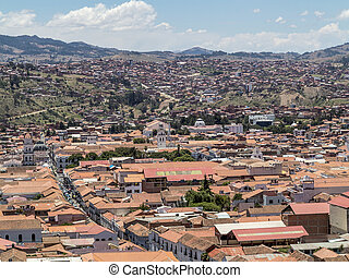 skyline of Sucre, Bolivia under blue sky
