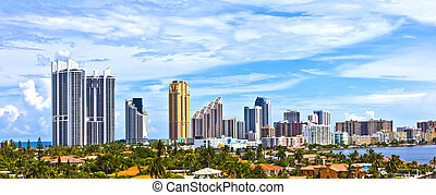Skyline of the city of Miami, Florida.
