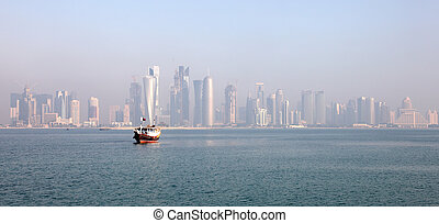 Skyline of the Doha downtown district Dafna. Qatar, Middle...