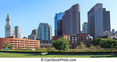 Skyline of the financial district of Boston, Massachusetts -...