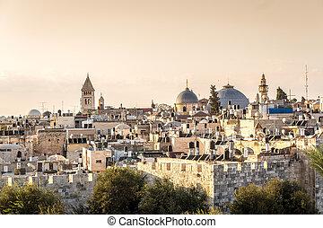 Skyline of the Old City at Christian Quarter of Jerusalem, Israel.