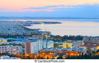 Skyline of Thessaloniki, twilight. Greece