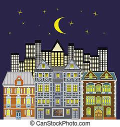 Skyline of three mansions at night