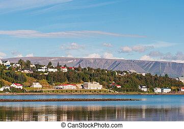 Skyline of town of Akureyri in Iceland