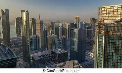 Skyline of West Bay and Doha City Center during sunrise...
