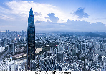 skyline, office building and modern cityscape of shenzhen