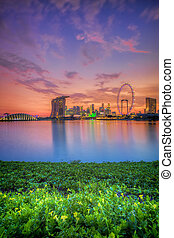 skyline, ondergaande zon , singapore