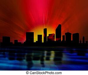 skyline, op de avond
