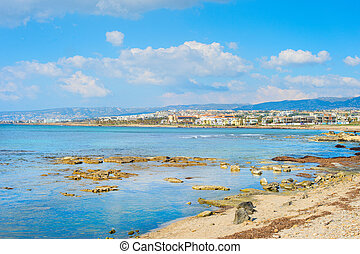 Skyline Paphos empty beach Cyprus