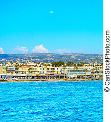 Skyline Paphos sea waterfront Cyprus