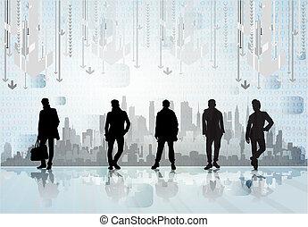 skyline, pessoas, negócio cidade