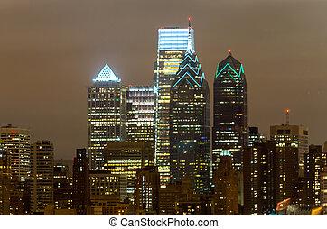 skyline, philadelphia, nacht