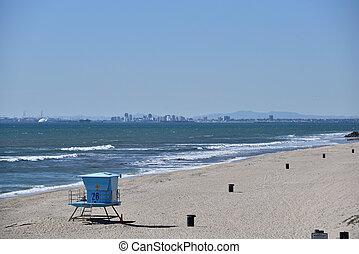 skyline, praia, longo