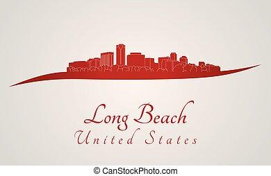 skyline, praia, longo, vermelho
