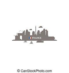 skyline przedstawią w sylwecie, francja