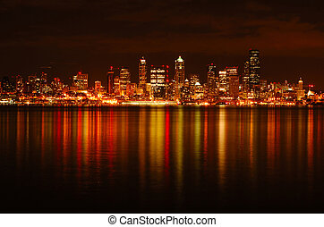 skyline, reflektiert, seattle