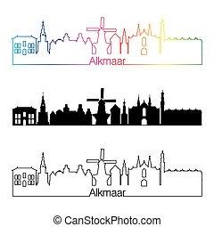 skyline, regenbogen, stil, alkmaar, linear