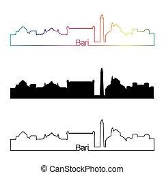 skyline, regenbogen, stil, bari, linear