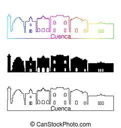 skyline, regenbogen, stil, cuenca, linear