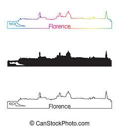 skyline, regenbogen, stil, florenz, linear