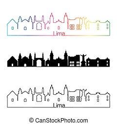 skyline, regenbogen, stil, lima, linear