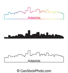 skyline, regenbogen, stil, linear, adelaide