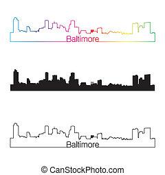 skyline, regenbogen, stil, linear, baltimore