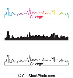 skyline, regenbogen, stil, linear, chicago