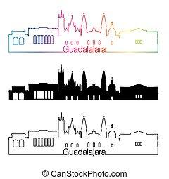 skyline, regenbogen, stil, linear, guadalajara