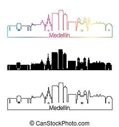 skyline, regenbogen, stil, linear, medellin