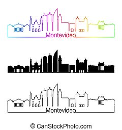 skyline, regenbogen, stil, linear, montevideo