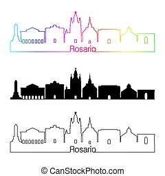 skyline, regenbogen, stil, linear, rosario