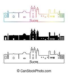 skyline, regenbogen, stil, linear, sucre