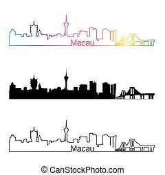 skyline, regenboog, stijl, lineair, macau
