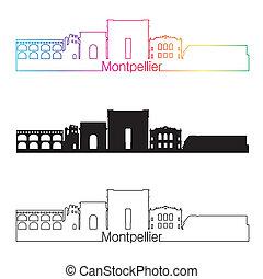 skyline, regenboog, stijl, lineair, montpellier