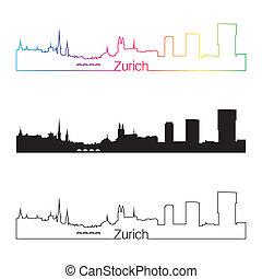 skyline, regenboog, stijl, lineair, zurich