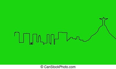 Skyline Rio de Janeiro - cartoon animation - green screen