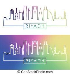 skyline., riyadh, style., カラフルである, 線である