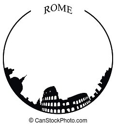 skyline, roma, isolado