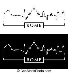 skyline., rome, linéaire, style.