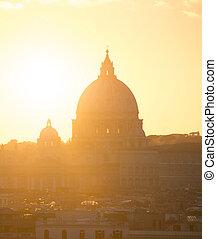Skyline Rome Peter Basilica sunset