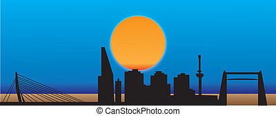 rotterdam - skyline rotterdam city sunset