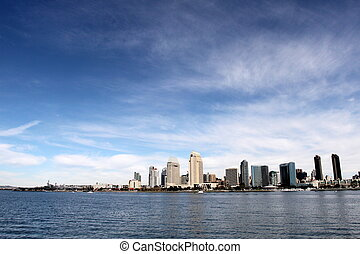 Skyline San Diego - The skyline of San Diego with water in...