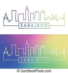 skyline., sarajevo, style., linear, bunte