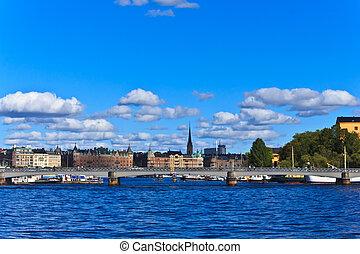skyline, schweden, stockholm