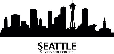 Skyline Seattle - detailed illustration of Seattle, ...