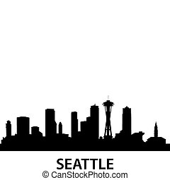 Skyline Seattle - detailed illustration of Seattle,...