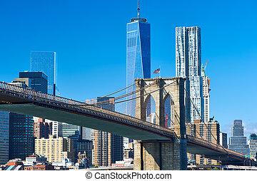 skyline, senken, ansicht, brooklyn, manhattan