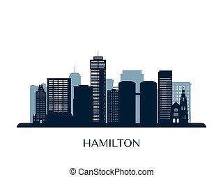 skyline, silhouette., hamilton, monocromático